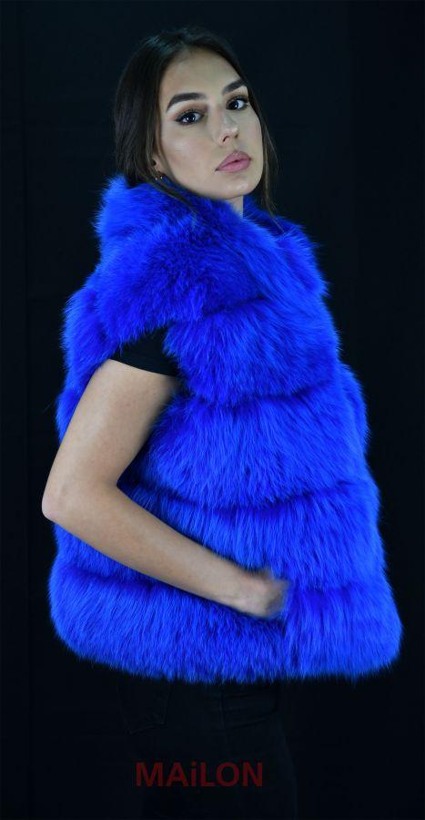 SAGA Blue dyed Fox fur vest