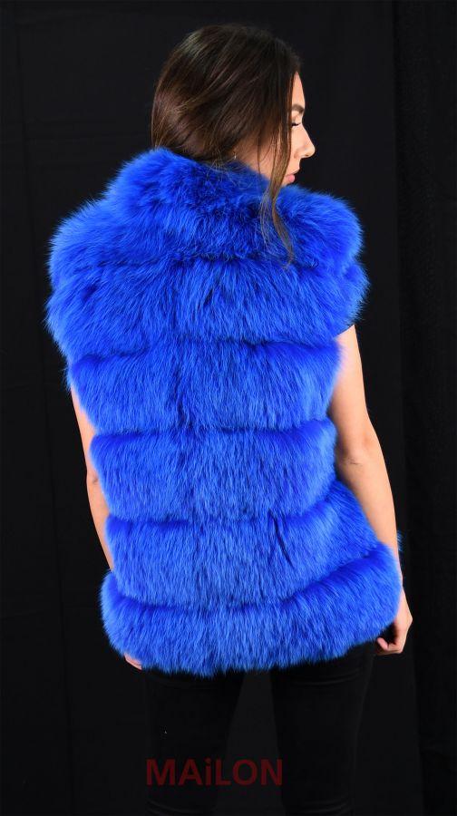 Blue dyed Fox fur vest - SAGA FURS