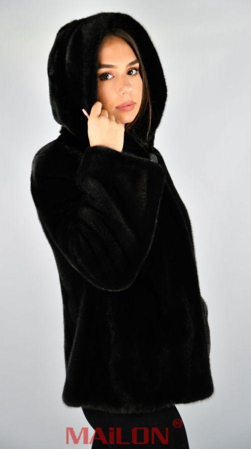 Hooded Black SAGA ROYAL mink fur jacket