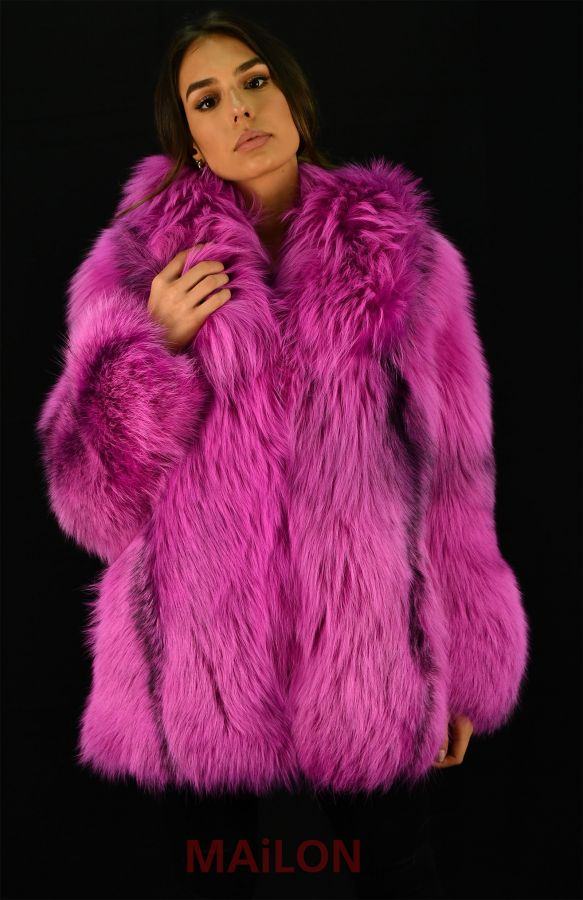 Fuchsia SAGA Feathered Fox fur jacket - Size Small