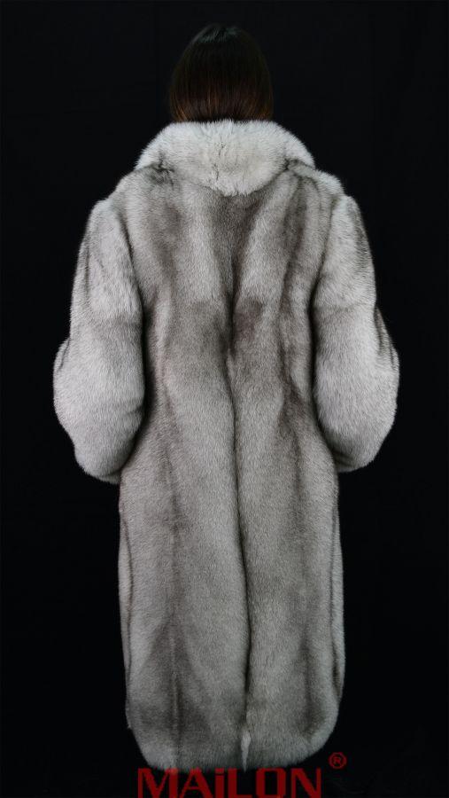 SAGA Let out Natural Blue Fox full length Fur Coat