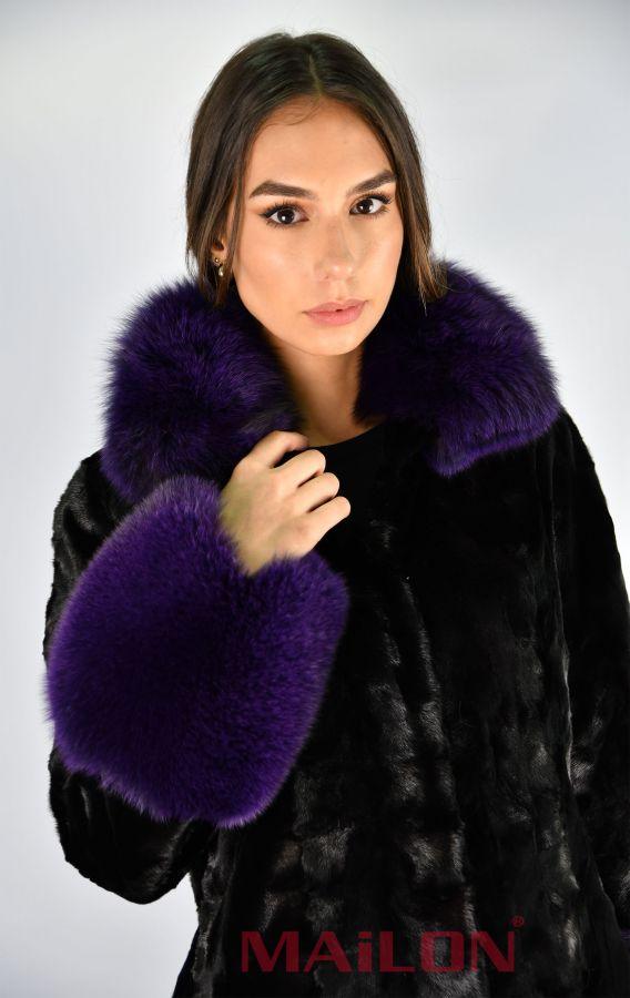 Black mink pieces coat with Purple Fox Fur - Size Medium