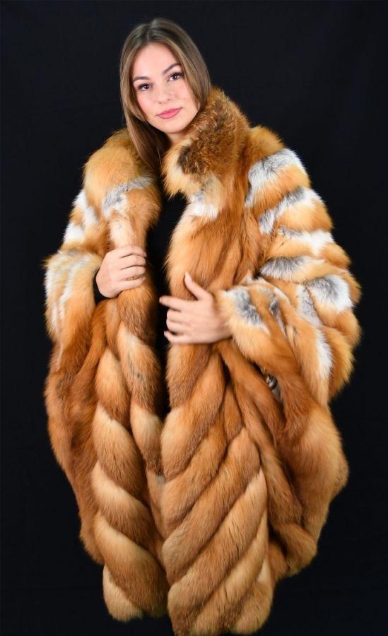 Luxurious Canadian Red Fox Fur Cape - Plus Size - XL 2XL 3XL