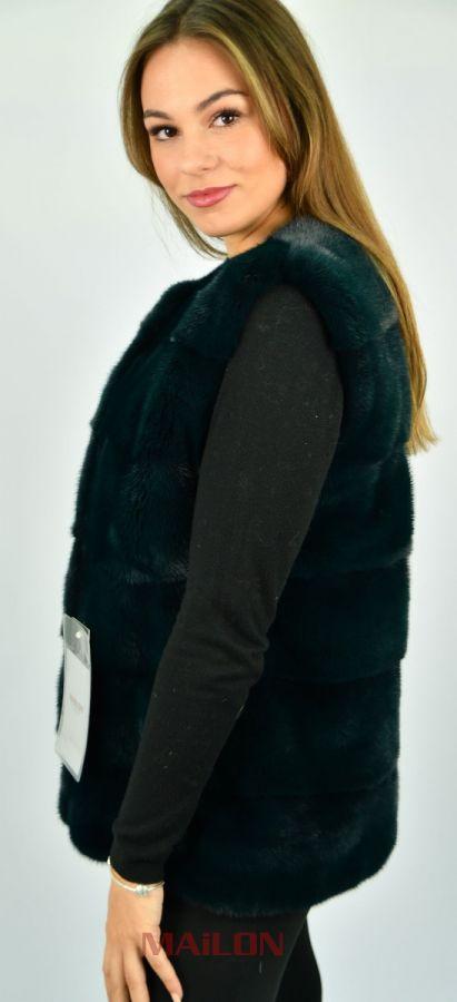 SAGA ROYAL Cypress Green Mink Fur Vest - Size Small/Medium