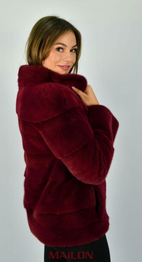 Cherry Red SAGA ROYAL mink jacket - Size M