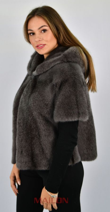 Hooded Grey dyed black cross fur jacket/bolero, short sleeve - Size Small/Medium