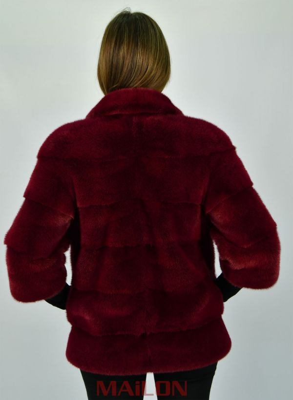 Cherry Red Pelts Across SAGA ROYAL mink jacket - Size Small/Medium