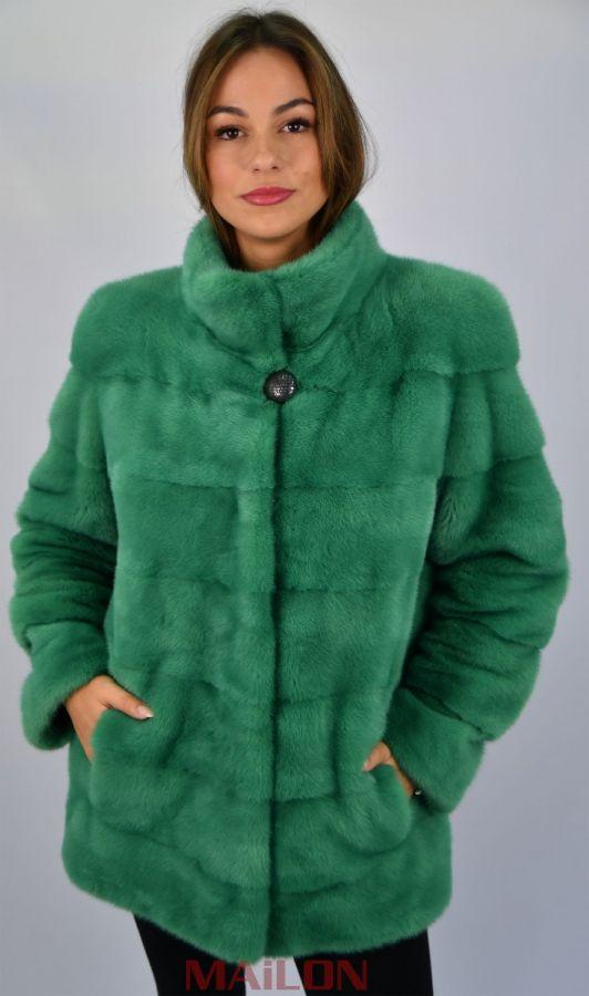 Light Green Mink Jacket with pelts across