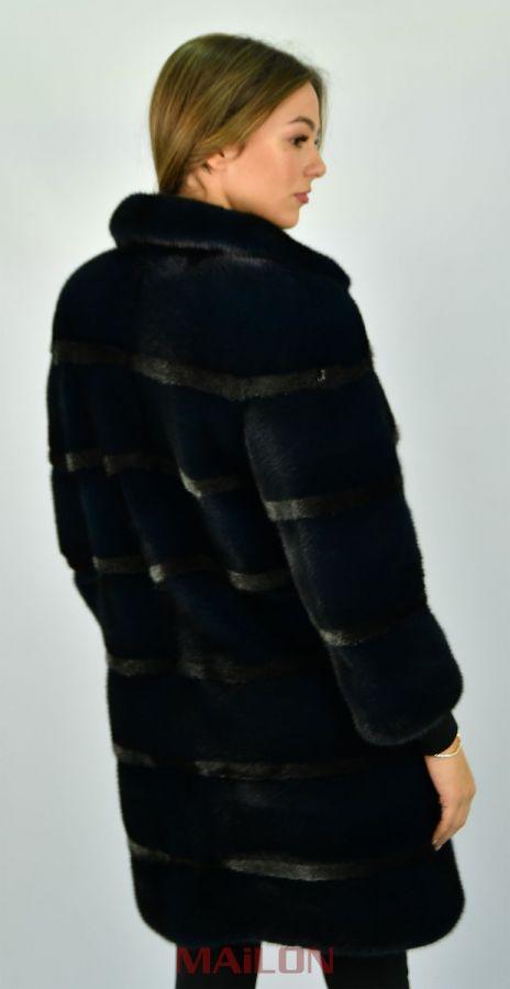 SAGA ROYAL Blue Mink Fur coat with silver metallic lines