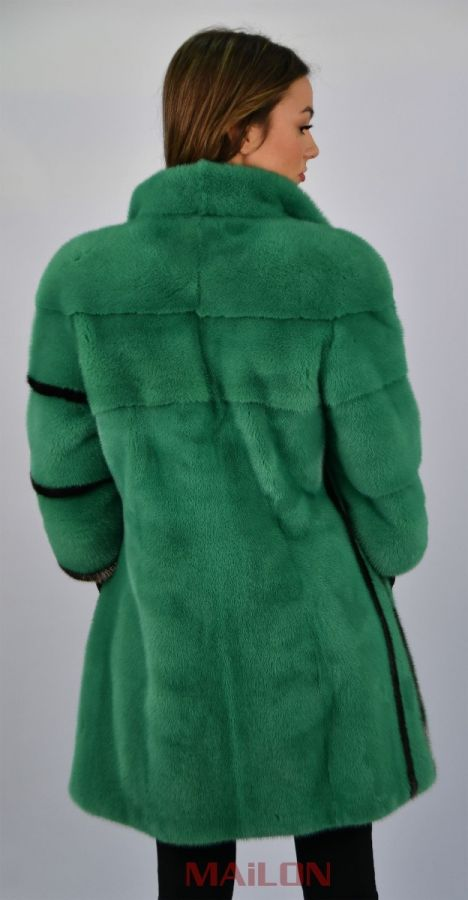 Green Mink Jacket with silver metallic lines