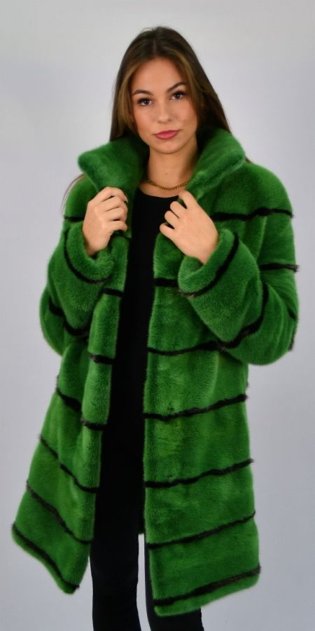 Green Mink Jacket with bronze metallic inserts - Size Small