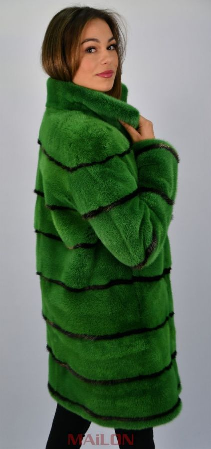 Green Mink Jacket with bronze metallic inserts