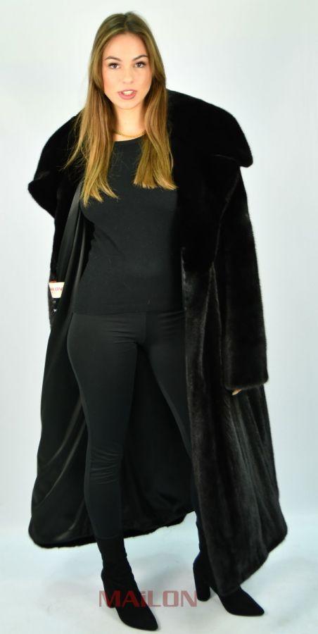Fully Letout full length Black Mink coat with English collar