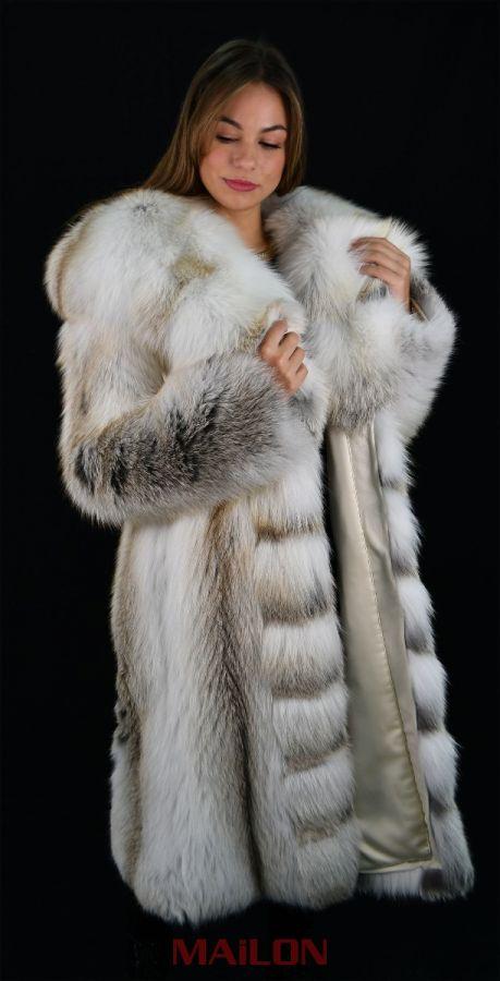 Hooded Golden Island Shadow SAGA Fox Fur Coat