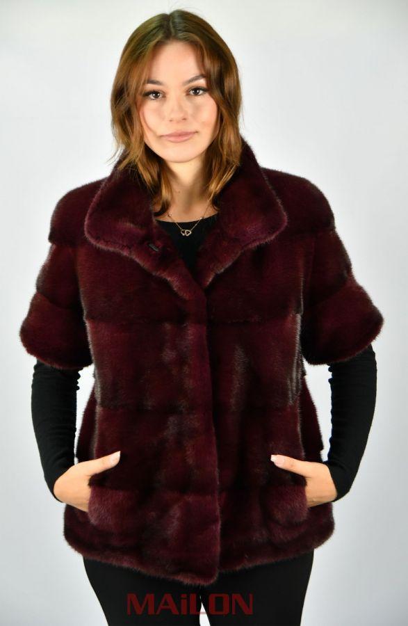 Bordeaux maroon pelts across SAGA ROYAL mink short jacket - Size Small/Medium