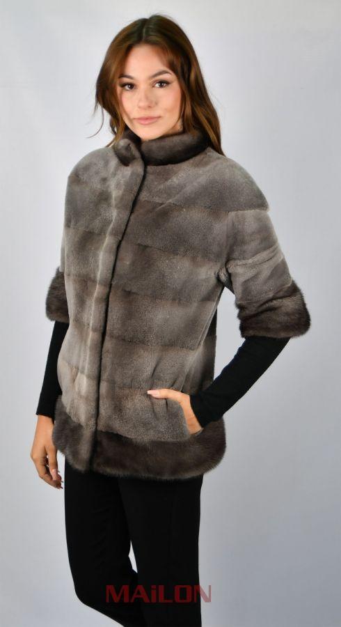Grey (sheared Blue Iris) mink fur jacket -Size XS EU36 RU42 US4 UK8
