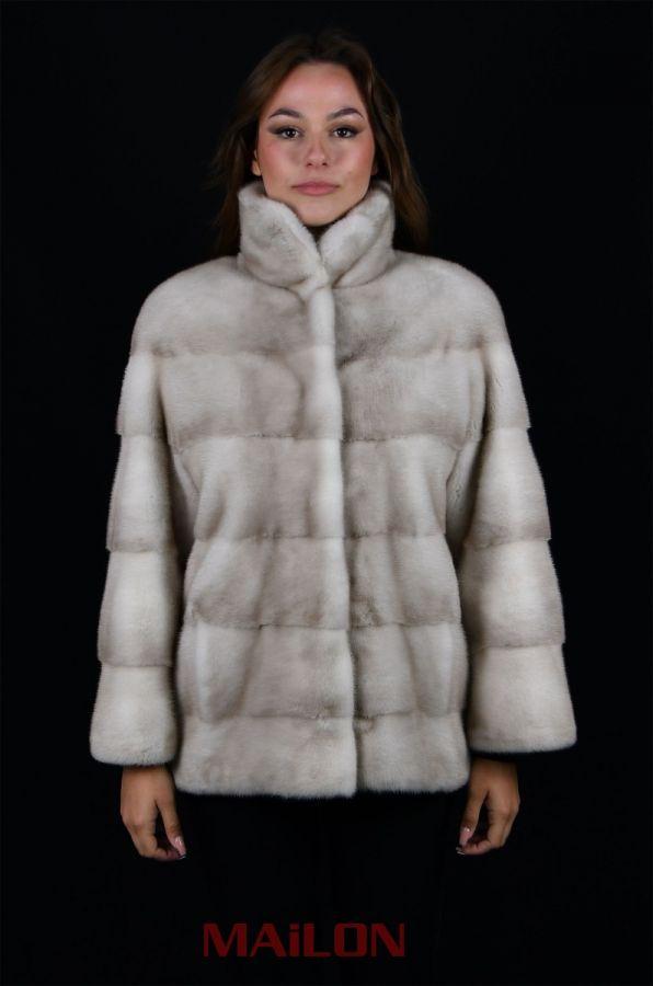 RARE! Lavender (natural) Mink fur jacket - pelts across
