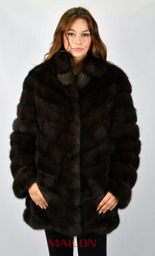 Brand New Diagonal Sable Fur Jacket