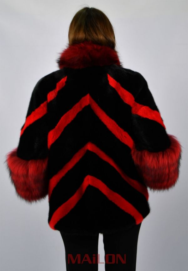 Black and Red SAGA ROYAL mink jacket cape with Fox trim