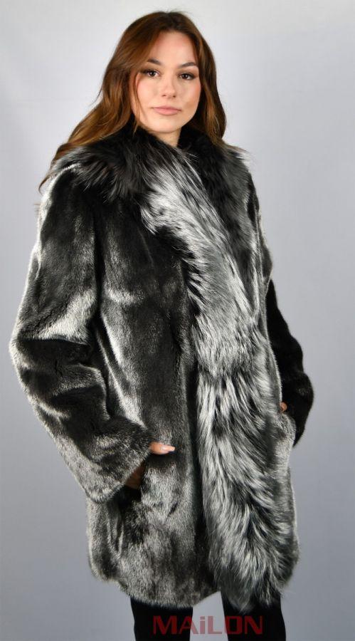 Fur coat jacket with Silver Metallic color mink & fox