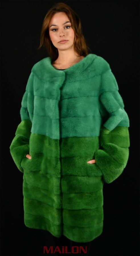 SAGA ROYAL Mink Coat with two shades of green color - Size L - LAST ONE!