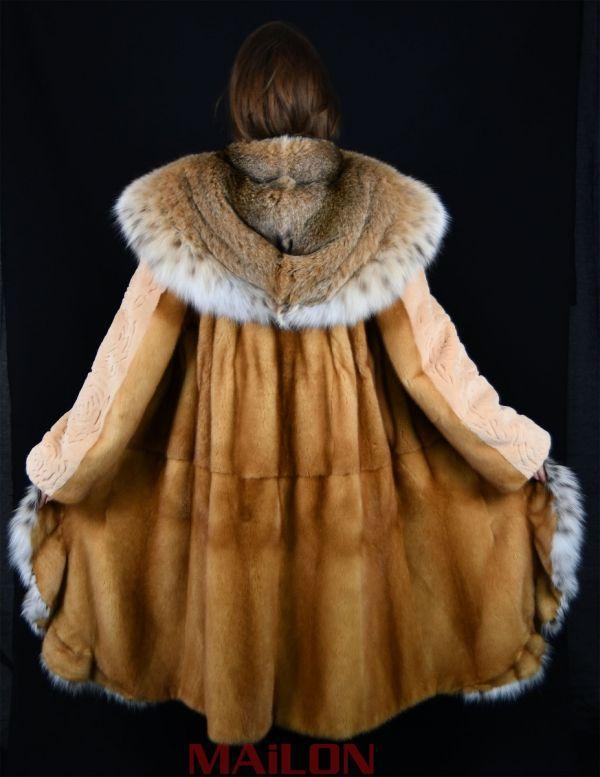 Golden Mink coat with full skin Lynx hood and tuxedo