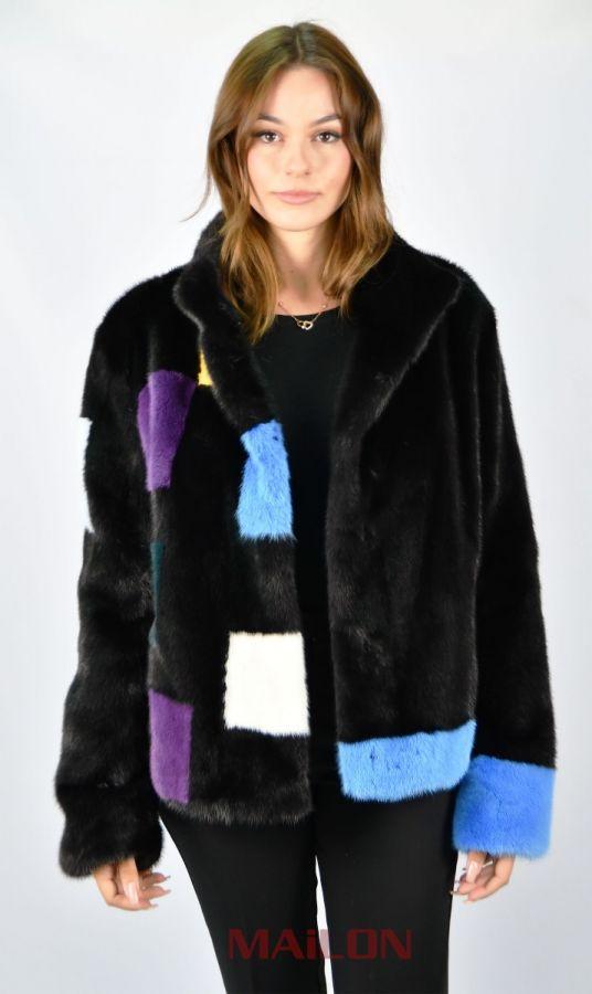 SAGA Black Mink fur jacket with colorful details