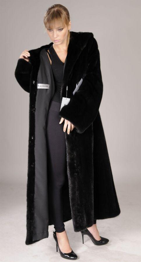 Hooded Blackglama Letout Full Length Mink Coat