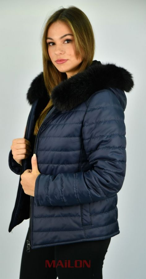 Hooded Blue Jacket with mink lining and fox trim - Size Small/Medium