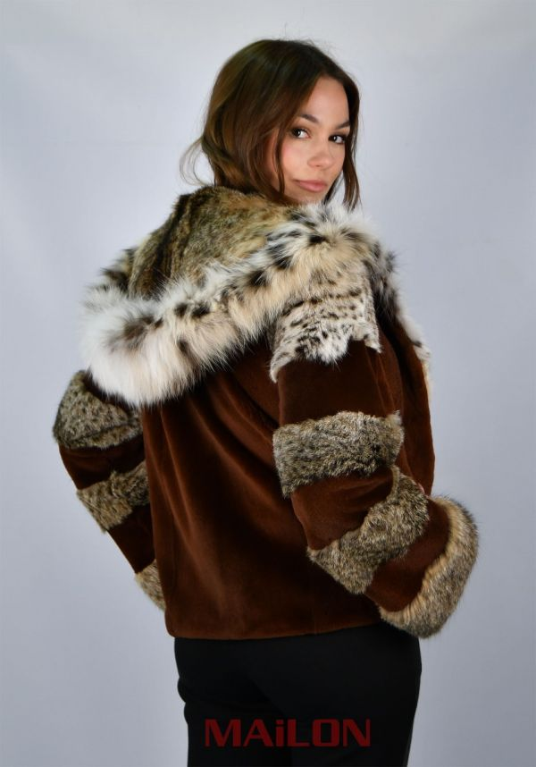 Hooded Mahogany / Chocola Mink fur jacket with Bobcat Size XS