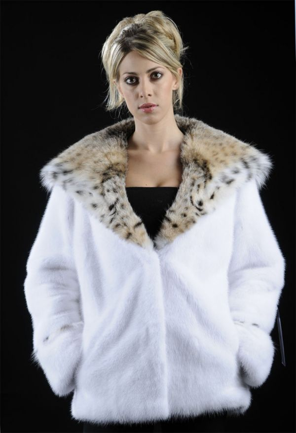 White Mink Fur jacket with Lynx hood