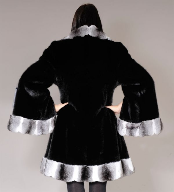 SAGA Black Mink Fur Jacket coat with chinchilla collar and trim
