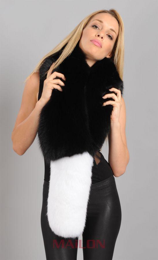 Black & White Fox Fur collar / scarf