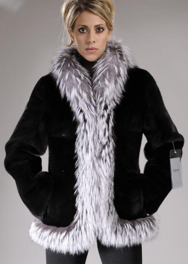 Black mink fur jacket with Platinum Fox trim