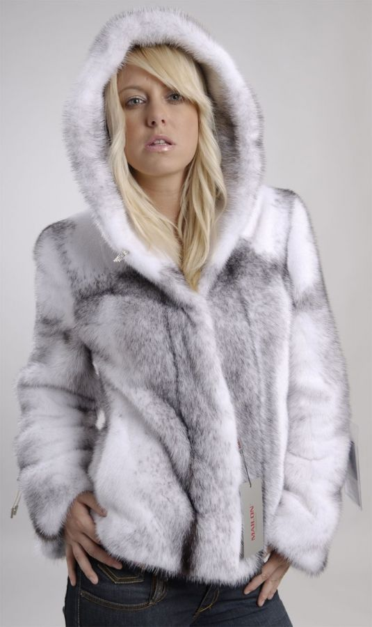 Hooded Black Cross Mink jacket