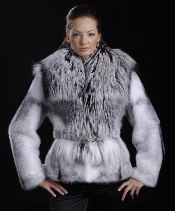 Black Cross jacket with fox fur collar