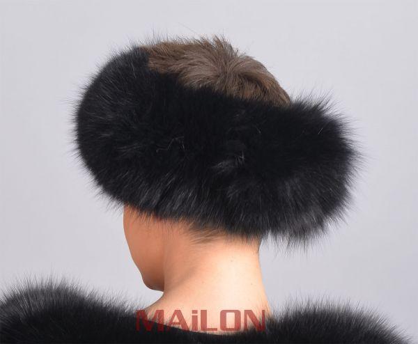Black Fox Fur Headband - One Size