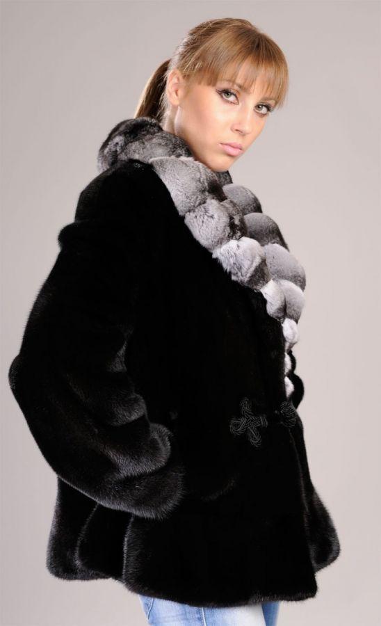 Black Mink Fur Jacket with chinchilla collar