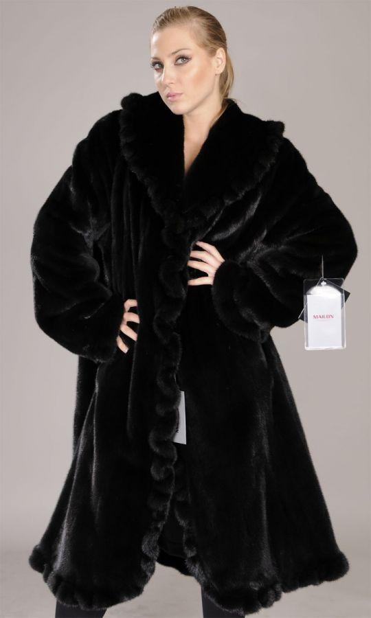 Unique furbelow design Blackglama mink coat