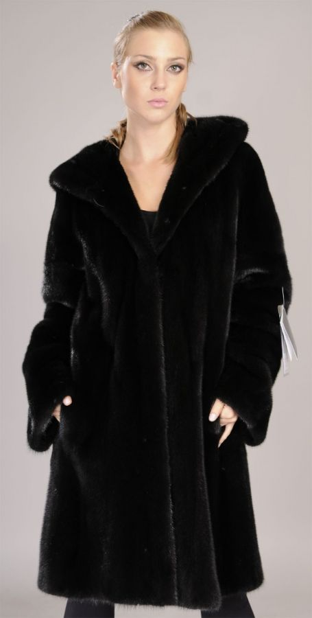 Blackglama Letout Hooded Knee length Mink Coat