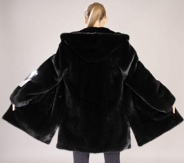 Hooded Blackglama mink fur parka