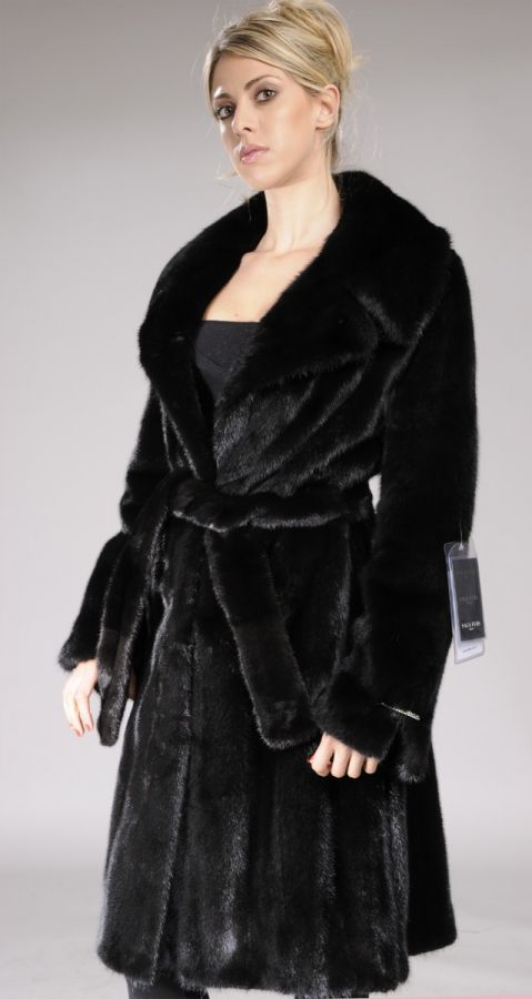 Fully Letout Black Mink coat with English collar