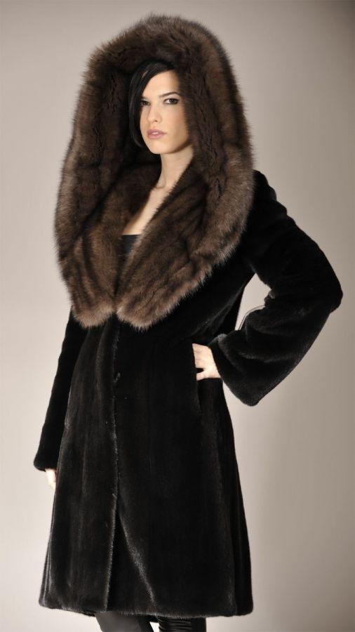 Blackglama Mink Coat with Huge Russian sable hood