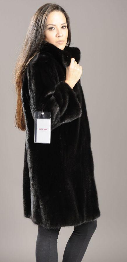 Letout Black Mink fur jacket coat with 3/4 sleeves
