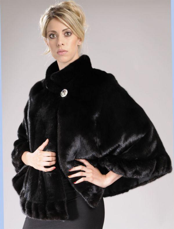 Black Mink Fur cape / poncho