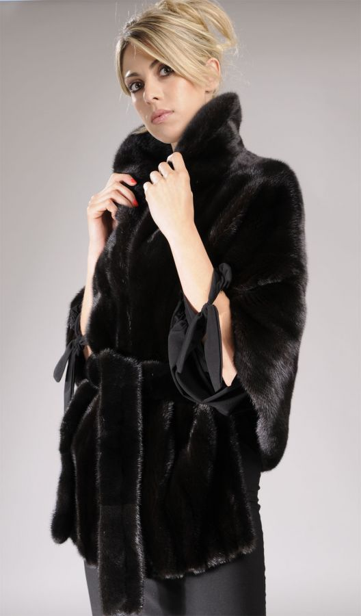 Black Mink Fur cape with fur belt