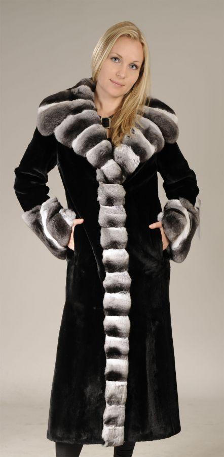 Sheared Black Mink Fur Coat with Chinchilla collar and trim
