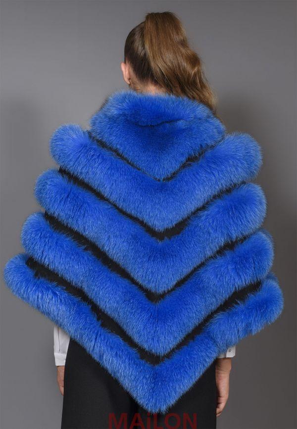 Blue SAGA Fox Fur Cape - One Size fits most