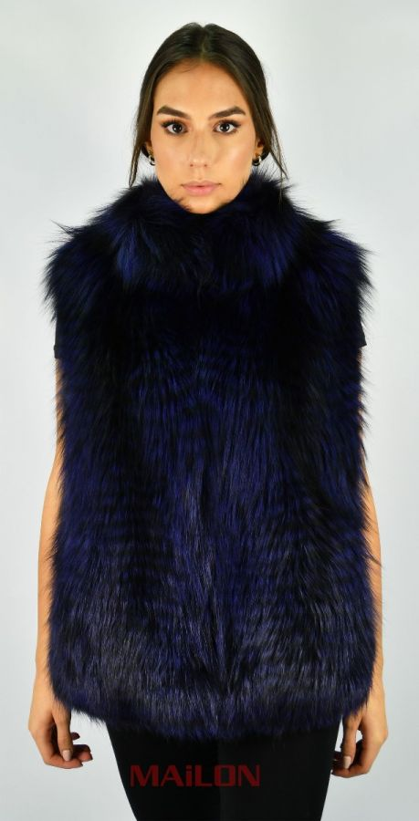 Dark Blue SAGA Feathered Fox fur vest
