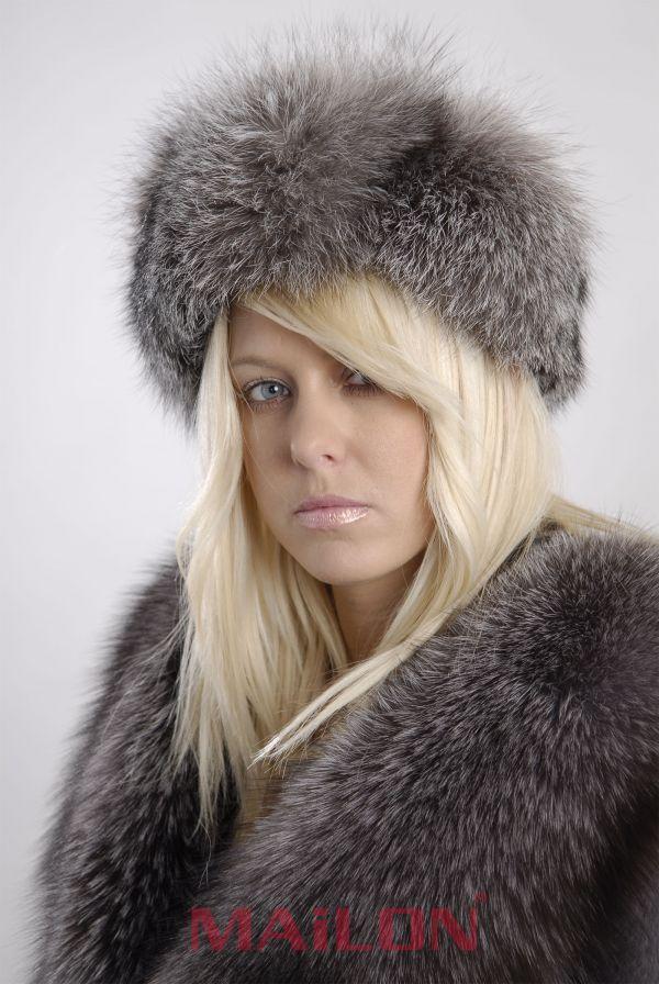 Blue Frost Fox Fur Headband - One Size